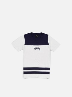 Stussy - Double Stripe V-Neck T-shirt, White 1
