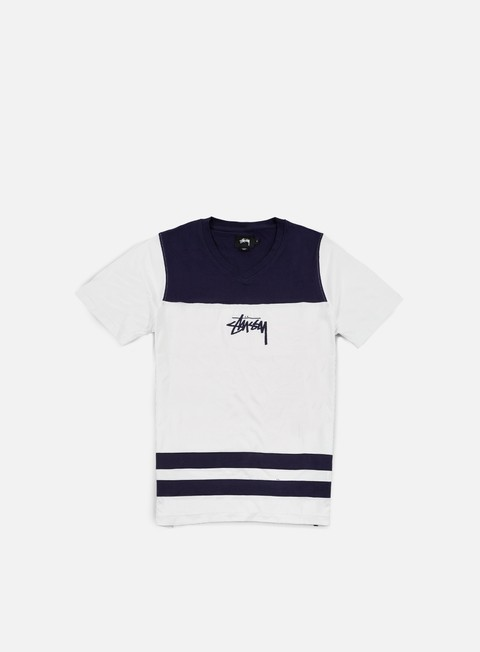 t shirt stussy double stripe v neck t shirt white