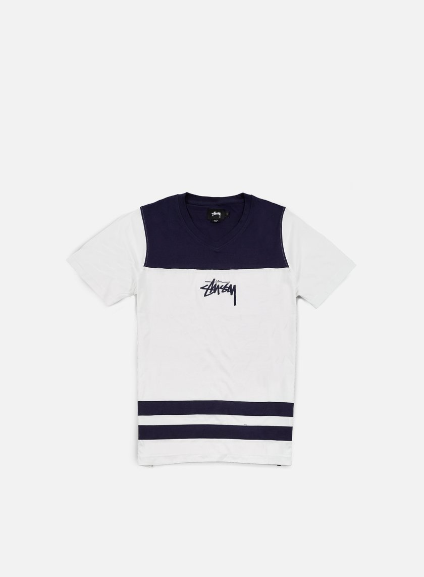 Stussy - Double Stripe V-Neck T-shirt, White