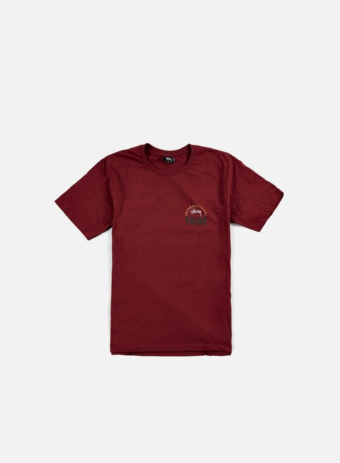 t shirt stussy ist stamp t shirt dark red
