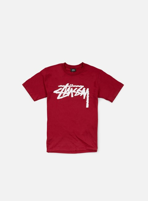 t shirt stussy label stock t shirt dark red