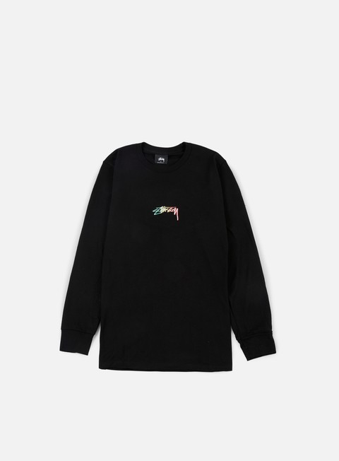 t shirt stussy smooth stock embroidered ls t shirt black