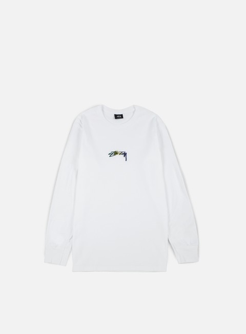 t shirt stussy smooth stock embroidered ls t shirt white