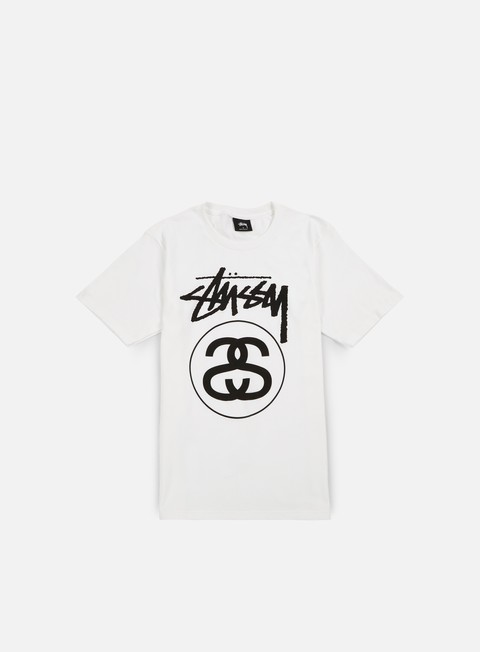 Outlet e Saldi T-shirt a Manica Corta Stussy Stock Link T-shirt,White/Black