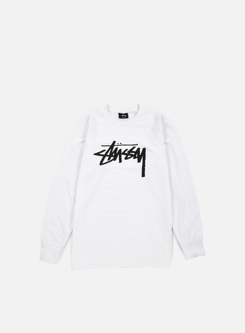 t shirt stussy stock ls t shirt white