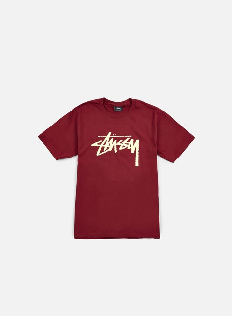 t shirt stussy stock t shirt dark red off white