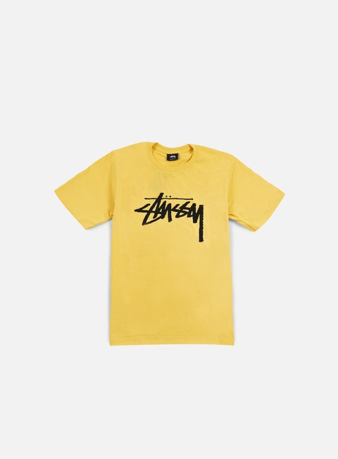 t shirt stussy stock t shirt faded yellow black