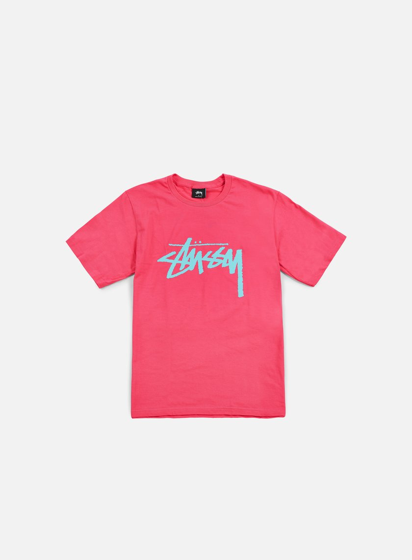 Stussy - Stock T-shirt, Pink/Light Blue