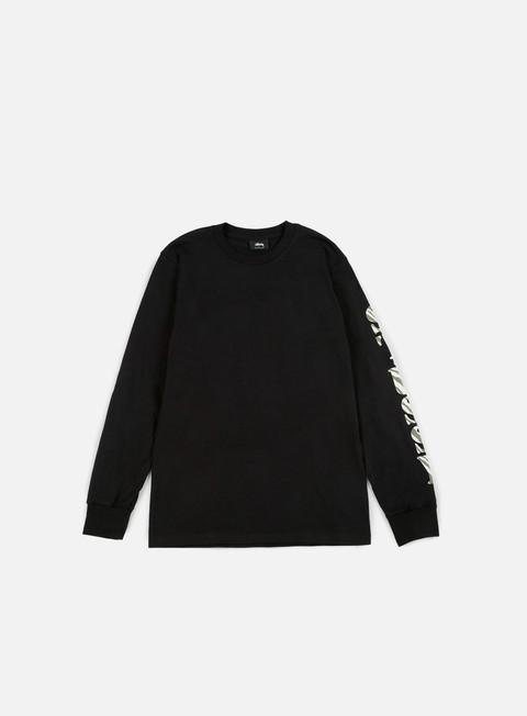 t shirt stussy wild ls t shirt black