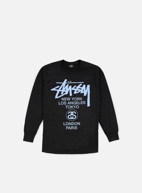 t shirt stussy world tour ls t shirt black blue