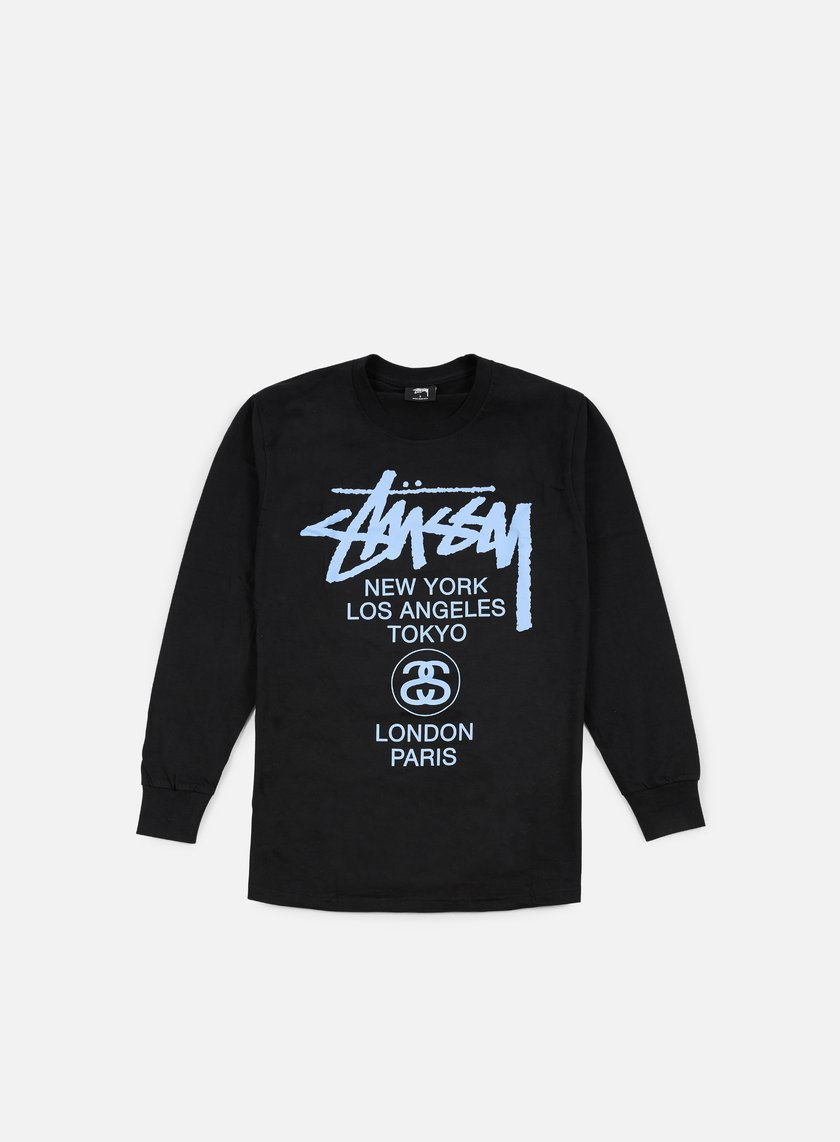 Stussy - World Tour LS T-shirt, Black/Blue
