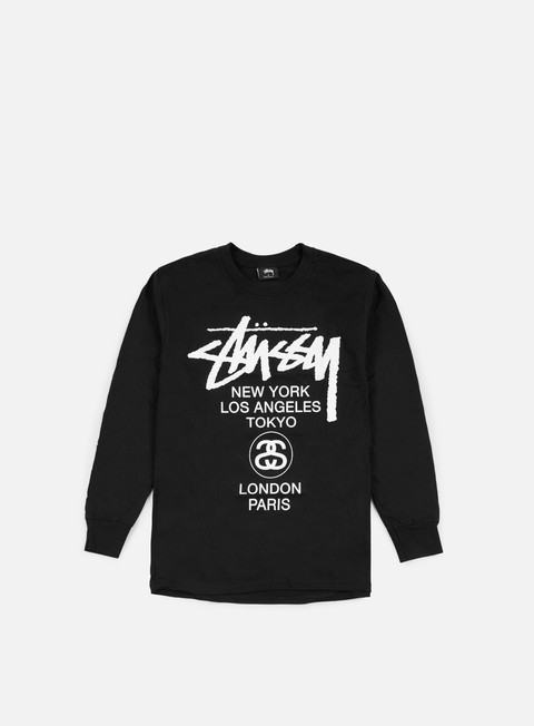 t shirt stussy world tour ls t shirt black white