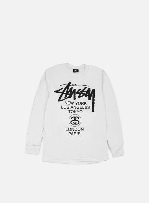 t shirt stussy world tour ls t shirt white black