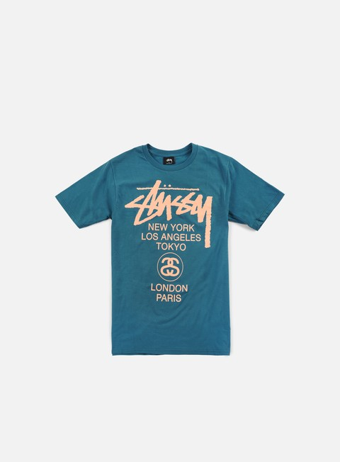 t shirt stussy world tour t shirt blue
