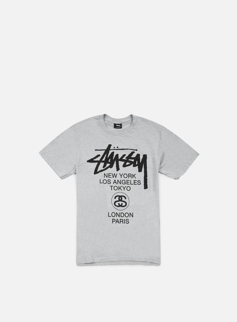 t shirt stussy world tour t shirt grey heather