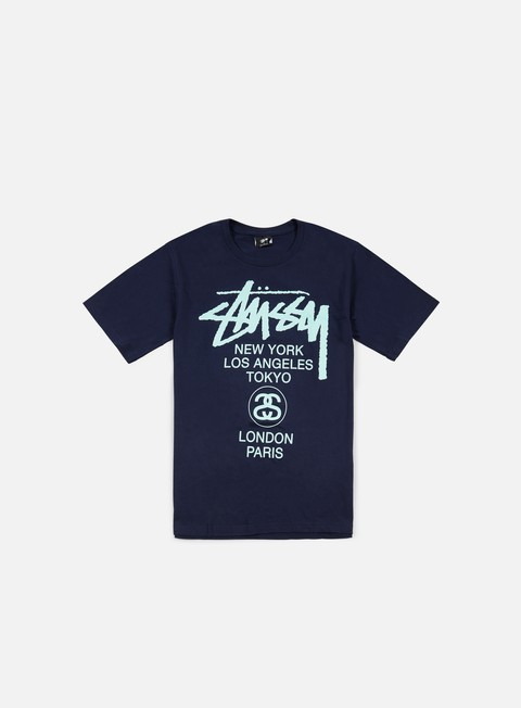 t shirt stussy world tour t shirt navy