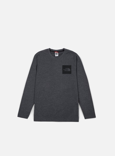 t shirt the north face fine ls t shirt dark grey heather