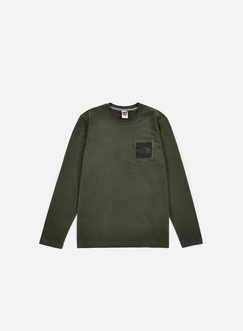 t shirt the north face long sleeve fine pocket t shirt rosin green