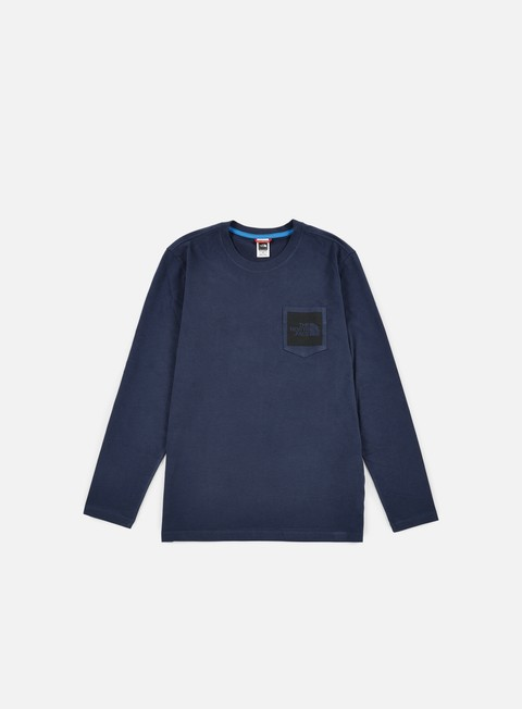 t shirt the north face long sleeve fine pocket t shirt urban navy