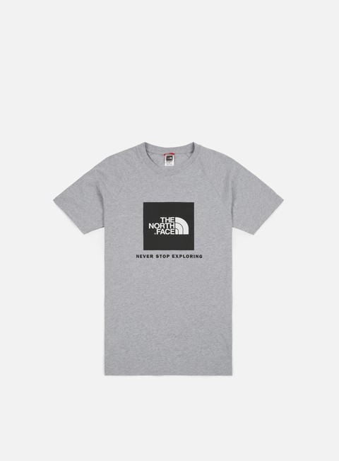 t shirt the north face raglan red box t shirt light grey heather