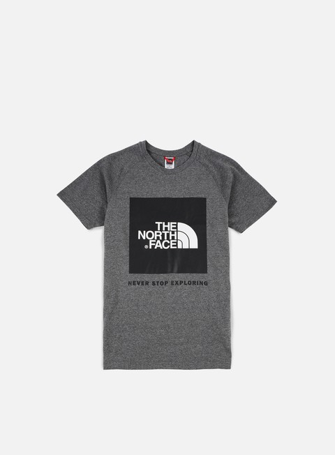 t shirt the north face raglan red box t shirt medium grey heather