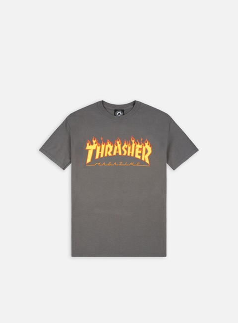 t shirt thrasher flame logo t shirt charcoal grey