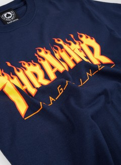 Thrasher - Flame Logo T-shirt, Navy 2