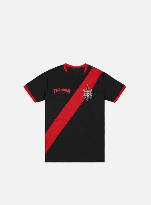 t shirt thrasher futbol jersey black red