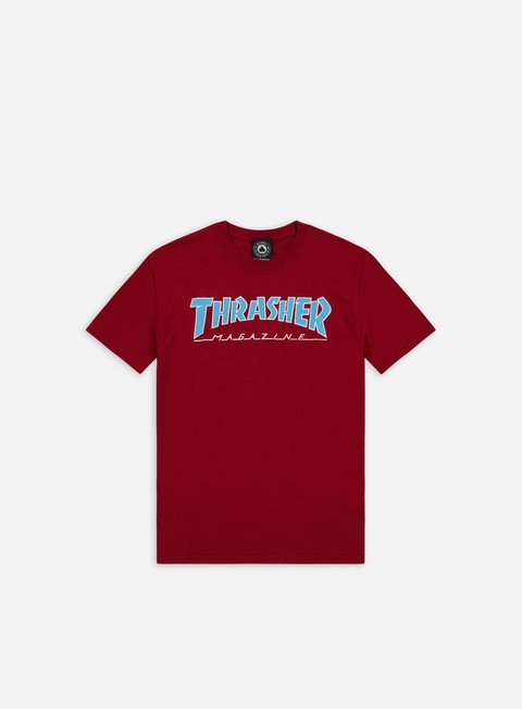 t shirt thrasher outlined t shirt cardinal