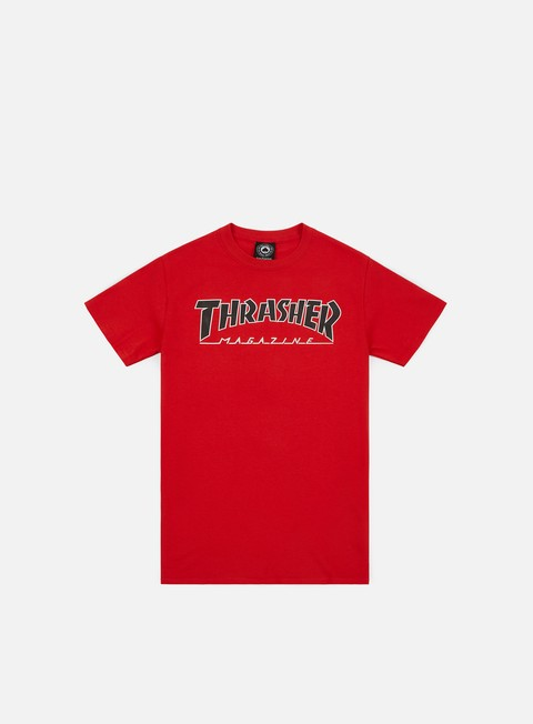 t shirt thrasher outlined t shirt red