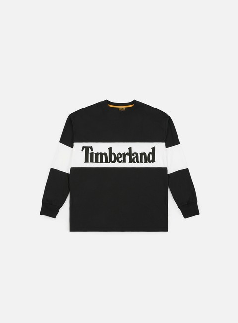 t shirt timberland oversize linear logo ls t shirt black