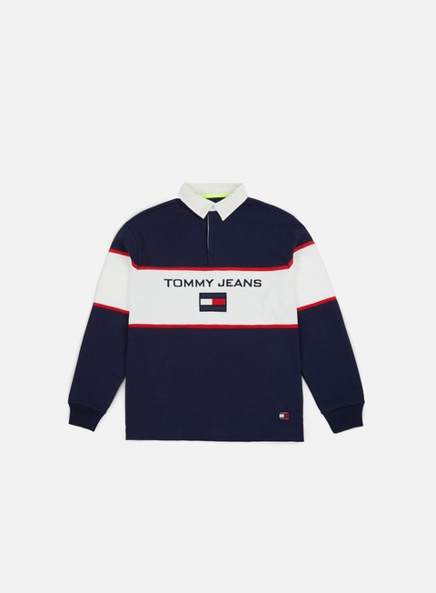 t shirt tommy hilfiger tj 90s blocked rugby ls shirt peacoat