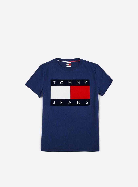 tommy hilfiger tj 90s flock t shirt medieval blue 49 00 dm0dm03108 408 t shirts short. Black Bedroom Furniture Sets. Home Design Ideas