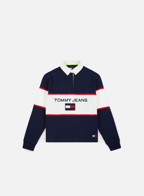t shirt tommy hilfiger wmns tj 90s blocked rugby ls shirt peacoat