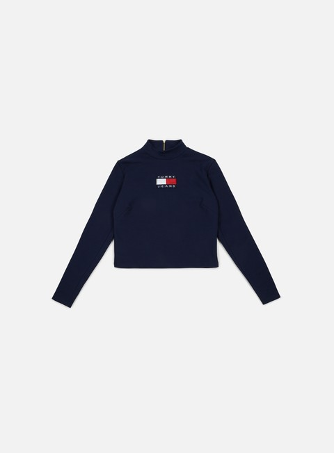 t shirt tommy hilfiger wmns tj 90s cropped turtleneck knit peacoat