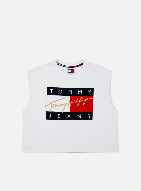 t shirt tommy hilfiger wmns tj 90s flock cropped tank top classic white