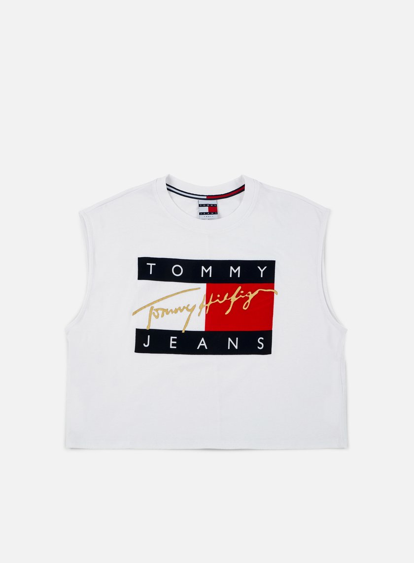 Tommy Hilfiger - WMNS TJ 90s Flock Cropped Tank Top, Classic White
