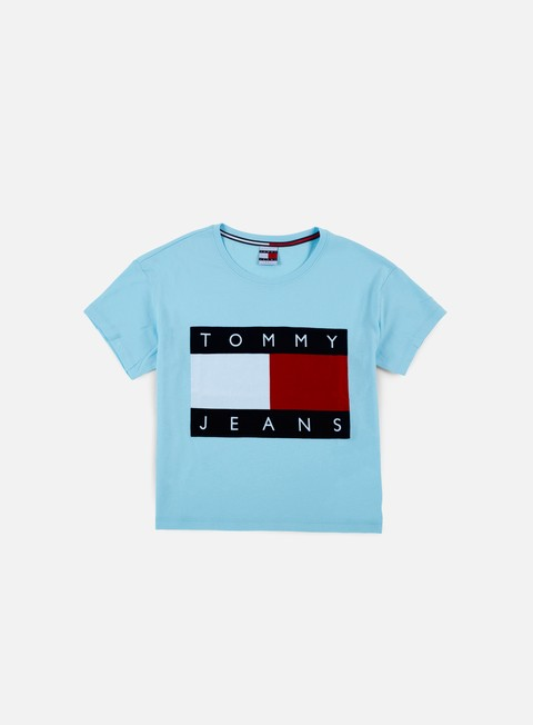 t shirt tommy hilfiger wmns tj 90s flock t shirt corydalis blue