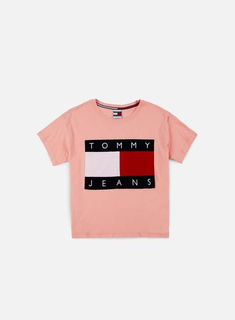 t shirt tommy hilfiger wmns tj 90s flock t shirt quartz pink