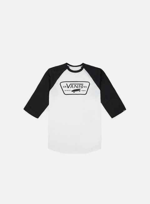 t shirt vans full patch raglan t shirt white black