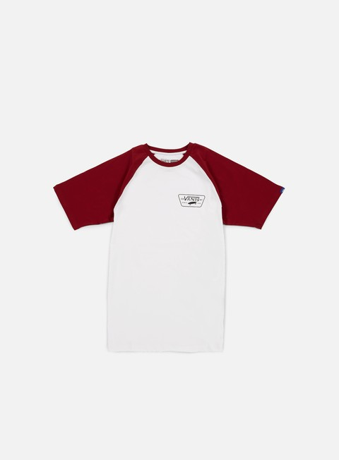 t shirt vans full patch raglan t shirt white red dahlia
