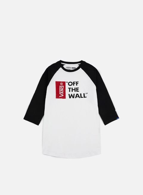 t shirt vans off the wall raglan t shirt white black