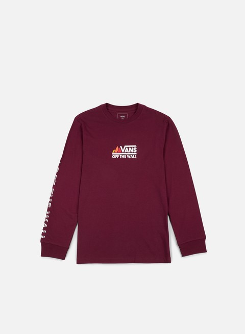 t shirt vans peaks camp ls t shirt burgundy